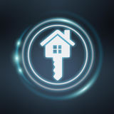 3D rendering white and glowing blue icon house. On blue background Royalty Free Stock Images