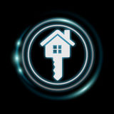 3D rendering white and glowing blue icon house Royalty Free Stock Images