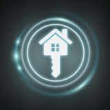 3D rendering white and glowing blue icon house Stock Photography