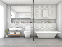 3d rendering white hexagon tile modern bathroom Royalty Free Stock Images