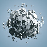 3D rendering of white hexagonal prism. Sci-fi background. Abstract sphere in empty space. Stock Photos