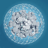3D rendering of white hexagonal prism. Sci-fi background. Abstract sphere in empty space. High quality render Stock Photos