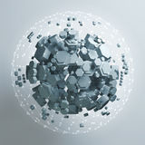 3D rendering of white hexagonal prism. Sci-fi background. Abstract sphere in empty space. High quality render Stock Image