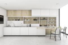 3d rendering white kitchen with minimal style decor. 3d rendering interior design by 3ds max Royalty Free Stock Images