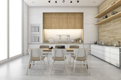 3d rendering white loft kitchen with nice decor dining zone Stock Photography