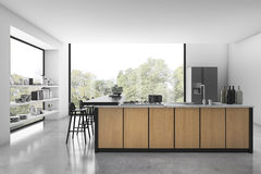 3d rendering white loft kitchen with wood decor and view from window. 3d rendering interior design by 3ds max Stock Image