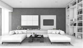 3d rendering white loft living room with sofa and bookshelf Royalty Free Stock Image