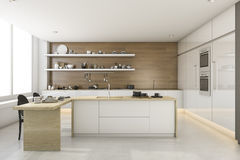 3d rendering white loft style kitchen. 3d rendering interior design by 3ds max Royalty Free Stock Images