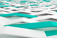 3D rendering of white matte plastic waves with colored elements Stock Image