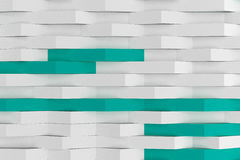 3D rendering of white matte plastic waves with colored elements Stock Images