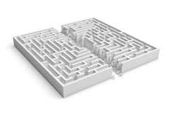 3d rendering of a white maze in front bottom view cut in straight line in half with rubble on the edges. Severe changes. Mazes and labyrinths. Finding the way Royalty Free Stock Photos