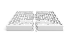 3d rendering of a white maze in front bottom view cut in straight line in half with rubble on the edges. Severe changes. Mazes and labyrinths. Finding the way Stock Photography