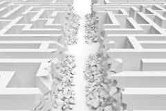 3d rendering of a white maze in front bottom view cut in straight line in half with rubble on the edges. Severe changes. Mazes and labyrinths. Finding the way Royalty Free Stock Image