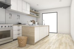 3d rendering white minimal kitchen with contemporary wood. 3d rendering interior design by 3ds max Stock Image