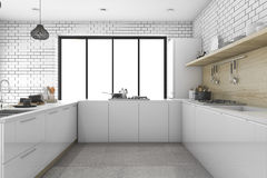 3d rendering white minimal kitchen with scandinavian style. 3d rendering interior design by 3ds max Royalty Free Stock Photography