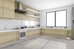 3d rendering white minimal kitchen with wood decoration built in. 3d rendering interior design by 3ds max Royalty Free Stock Photo