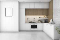 3d rendering white minimal kitchen with wood decoration Stock Photo