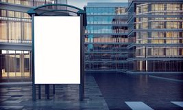 White mock up bus stop. 3d rendering of white mock up bus stop Stock Image