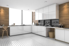 3d rendering white modern ethnic kitchen with wood design. 3d rendering interior design by 3ds max Royalty Free Stock Photography