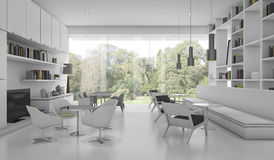 3d rendering white modern library with garden view Royalty Free Stock Photo