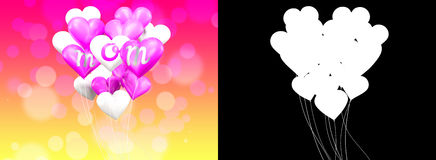 3D rendering white and pink shape heart balloons with  mom word. Royalty Free Stock Photos