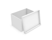 3d rendering of a white rectangle box with a lid leaning on its side on white background. Boxes and containers. Delivery and packing. Transportation Stock Photography