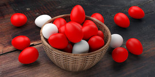 3d rendering white and red eggs in a basket Stock Photo