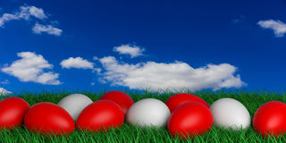 3d rendering white and red eggs on grass Stock Image