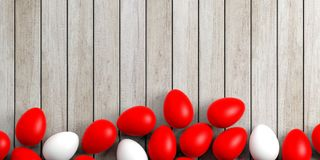 3d rendering white and red eggs on a wooden surface Stock Photo