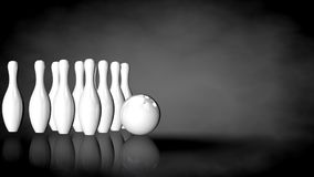 3d rendering of a white reflective bowling set on a dark backgro Stock Photo