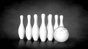 3d rendering of a white reflective bowling set on a dark backgro Royalty Free Stock Photo