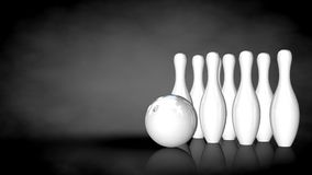 3d rendering of a white reflective bowling set on a dark backgro Stock Photos