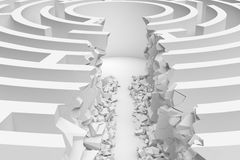 3d rendering of a white round maze with a direct route cut right to the center in close up view. Puzzles and problems. Unexpected solutions. Mazes and Stock Images