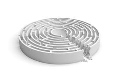 3d rendering of a white round maze with a direct route cut right to the center. Puzzles and problems. Unexpected solutions. Mazes and labyrinths Royalty Free Stock Image