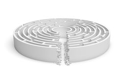 3d rendering of a white round maze with a direct route cut right to the center. Puzzles and problems. Unexpected solutions. Mazes and labyrinths Royalty Free Stock Photo