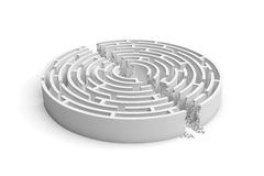 3d rendering of a white round maze with its walls broken by a straight line of rumble dividing the maze in half. Stock Photo