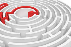 3d rendering of a white round maze with a red arrowed line showing the way out in close-up view. Secrets and mysteries. Puzzles and problems. Questions and Stock Image