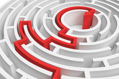 3d rendering of a white round maze with a red arrowed line showing the way out in close-up view. Secrets and mysteries. Puzzles and problems. Questions and Stock Photos