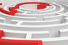 3d rendering of a white round maze with a red arrowed line showing the way out in close-up view. Secrets and mysteries. Puzzles and problems. Questions and Royalty Free Stock Photos