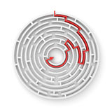 3d rendering of a white round maze with a red arrowed line showing the way out. Secrets and mysteries. Puzzles and problems. Questions and answers Royalty Free Stock Photography