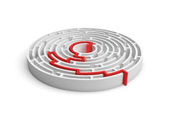 3d rendering of a white round maze with a red arrowed line showing the way out. Secrets and mysteries. Puzzles and problems. Questions and answers Royalty Free Stock Photo