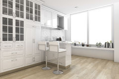 3d rendering white scandinavian style kitchen and dining room. 3d rendering interior design by 3ds max Royalty Free Stock Images