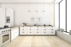 3d rendering white scandinavian style kitchen with lamp Stock Photography
