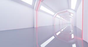 3D rendering of white sci-fi empty futuristic corridor with refl. 3D rendering of long sci-fi empty futuristic corridor Royalty Free Stock Photography