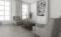 3d rendering white small living room with comfortable furniture Royalty Free Stock Photo