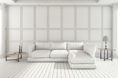 3d rendering white soft sofa in classic living room Stock Photography