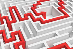 3d rendering of a white square maze in close up view with a red arrowed line showing the solution on white background. Stock Photography