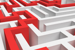 3d rendering of a white square maze in close up view with a red arrowed line showing the solution on white background. Stock Images