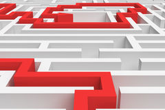 3d rendering of a white square maze in close up view with a red arrowed line showing the solution on white background. Stock Photos