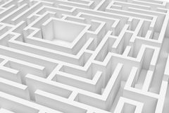 3d rendering of a white square maze in close up view on white background. Royalty Free Stock Photography